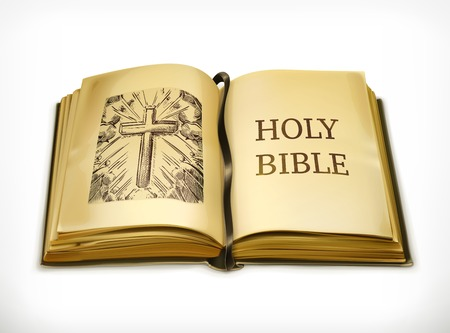 bible and cross: Bible, vector illustration