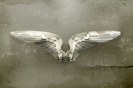 gothic angel: Wings, old style vector