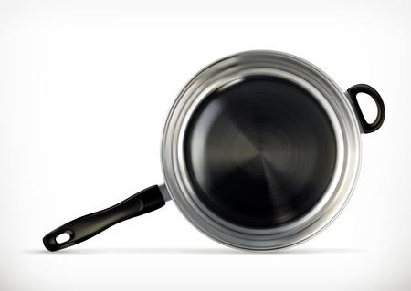 steel pan: Sartén, icono vector