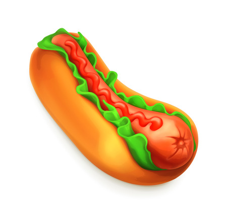 Hot dog, vector icon Illustration