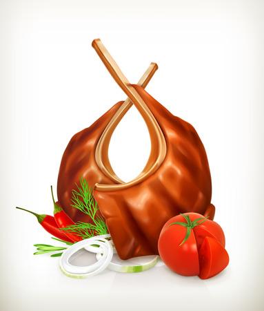 Costole di carne alla griglia con pomodoro, cipolla, l'aneto e peperoncino, vettore icona