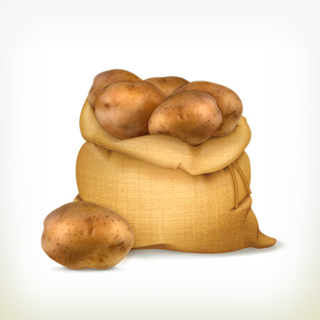 fabric bag: Sack of potatoes, vector icon Illustration