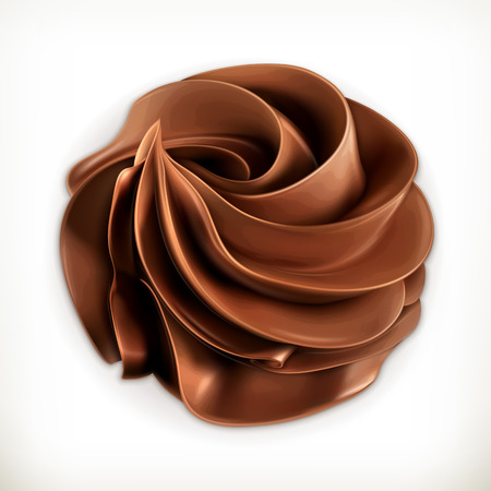 vanilla ice cream: Chocolate whipped cream, vector icon