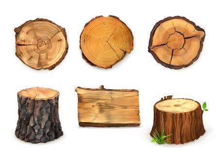 madera: Bandera de madera, vector