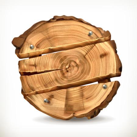 cut logs: Wooden banner, vector