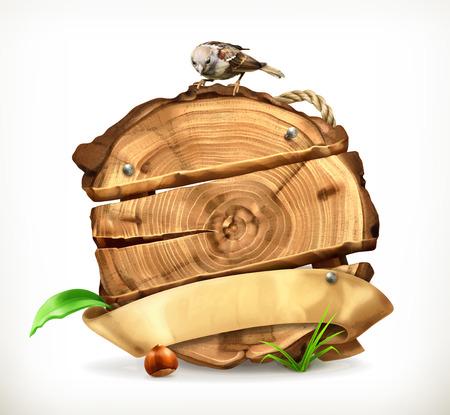 cut logs: Wooden banner, tree stump vector illustration Illustration
