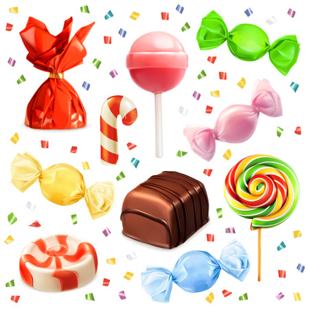 sweet food: Candy set, vector icons