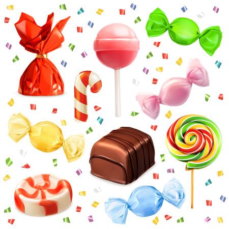 merienda: Conjunto Candy, iconos vectoriales
