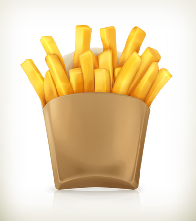 French fries, vector icon Çizim