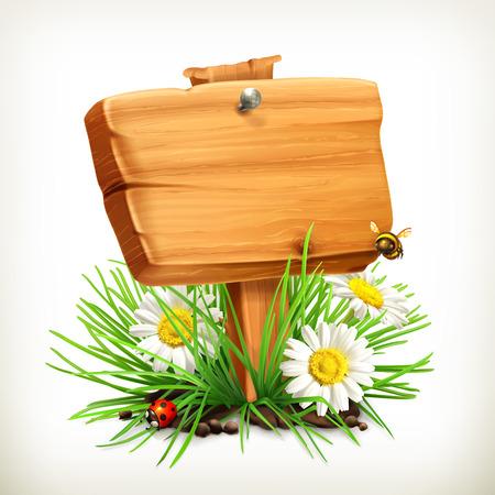 mariquitas: Primavera, el tiempo para hacer un picnic, cartel de madera en una hierba, flores de manzanilla, una mariquita y una abeja en el jardín, icono del vector, un marco universal, que muestra el proceso de la primavera