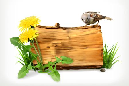 木製バナー、タンポポ、緑の草、ベクトル イラスト