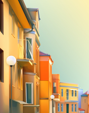 provincial: Urban landscape, a typical residential street of the provincial town Illustration