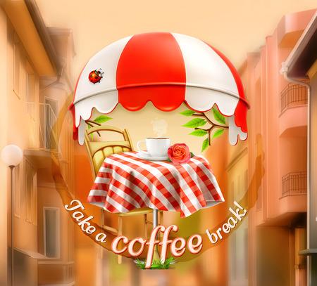 pasteles: Caf�, caf� y pasteler�a, una taza de caf� con rosa sobre una mesa, toldo con la mariquita. Vectores