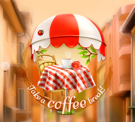 pastry shop: Cafe, coffee and pastry shop, a cup of coffee with rose on a table, awning with ladybug.  Illustration