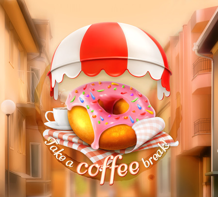 outdoor cafe: Pink donut and cup of coffee