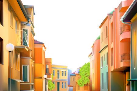 도시 풍경, 지방 도시의 전형적인 주거 거리 일러스트