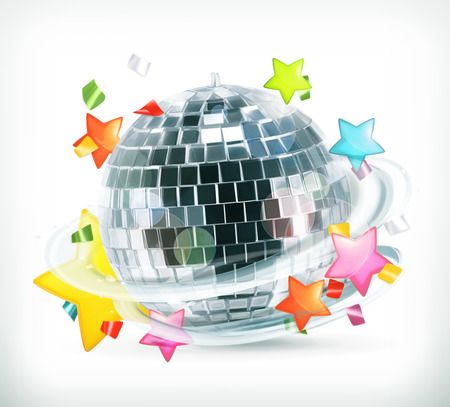 mirror ball: Party, stars and disco ball, vector icons