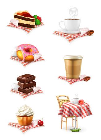 Street cafe, schokolade, kleiner kuchen, kuchen, Tasse Kaffee, Krapfen, vector icon set Standard-Bild - 40014686