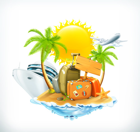 cruise cartoon: Summer travel, vector icon
