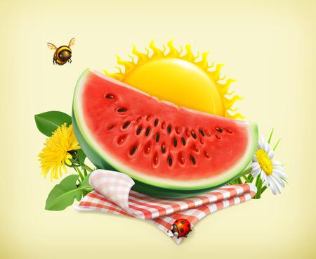 słońce: Lato, czas na piknik, arbuz, przyrody, rekreacji na świeżym powietrzu, obrus i słońce za, trawy, kwiatów rumianku i mniszka lekarskiego, ilustracji wektorowych pokazując letniego