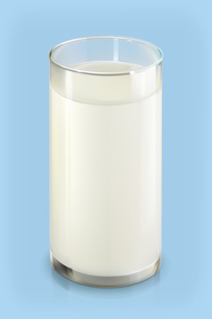 glass cup: Glass of milk, vector object on blue background Illustration