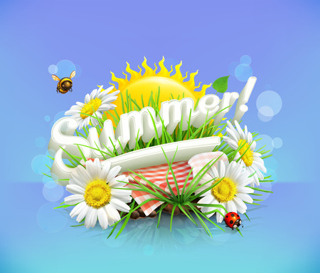 bee party: Summer, time for a picnic, nature, outdoor recreation, a tablecloth and sun behind, grass, flowers of chamomile, vector illustration showing the summertime Illustration