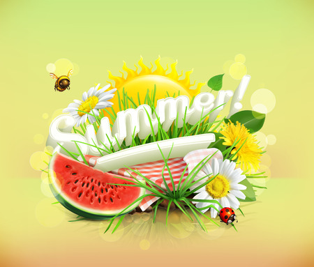picnic tablecloth: Summer, time for a picnic, watermelon, nature, outdoor recreation, a tablecloth and sun behind, grass, flowers of chamomile and dandelion, vector illustration showing the summertime
