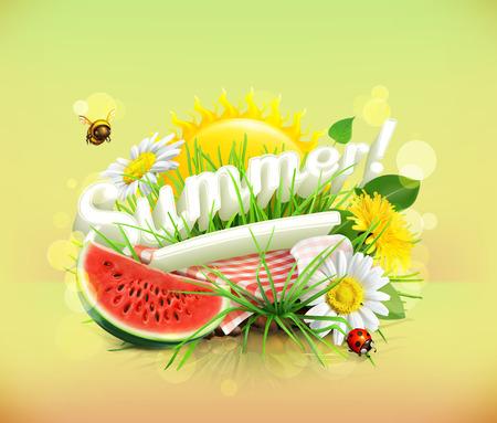 Zomer, tijd voor een picknick, watermeloen, natuur, recreatie, een tafelkleed en de zon achter, gras, bloemen van kamille en paardebloem, vector illustratie die de zomer