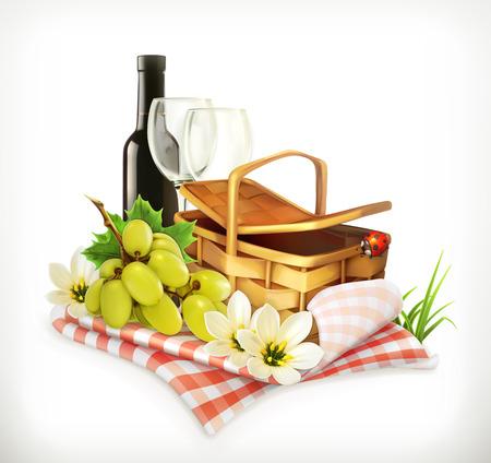 cestas de frutas: Tiempo para un día de campo, naturaleza, recreación al aire libre, una cesta de picnic y mantel, copas de vino y uvas, ilustración vectorial que muestra el verano