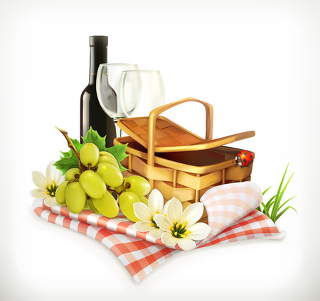 Time for a picnic, nature, outdoor recreation, a tablecloth and picnic basket, wine glasses and grapes, vector illustration showing the summertime