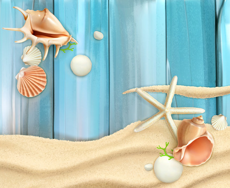 and turquoise: Seashells on sand and wooden background