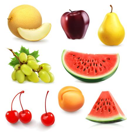 manzana roja: Frutas de verano, conjunto de iconos de vectores