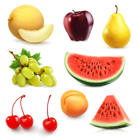 exotic fruits: Summer fruits, set of vector icon