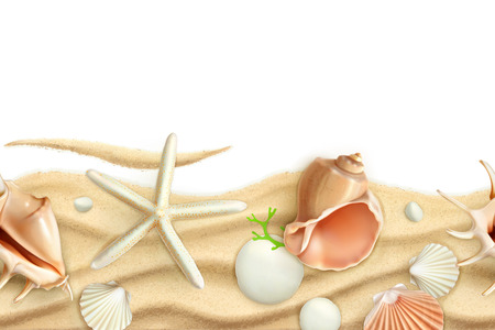 Seashells on sand, vector seamless background