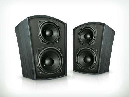 sonido: Sistemas ac�sticos de cuerpo de madera plano, icono del vector