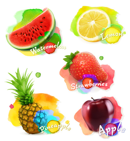 pineapple juice: Fruit and berries watercolor, vector illustration set