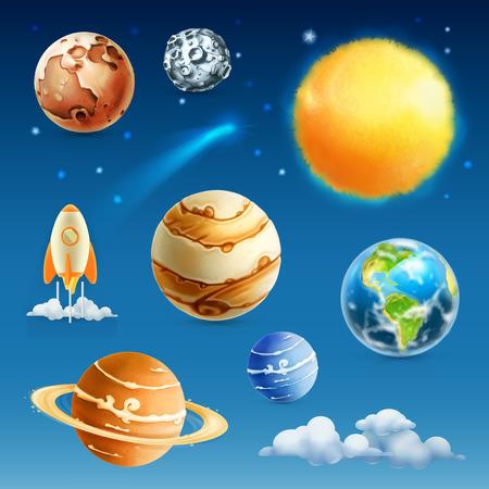 luna caricatura: El espacio y el planeta, icono de conjunto de vectores