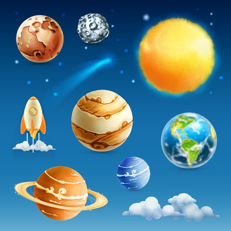 cartoon earth: Space and planet, vector icon set