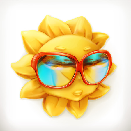 Hot summer sun, sunglasses, vector icon