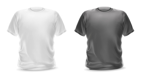 White and gray t-shirt, vector isolated object