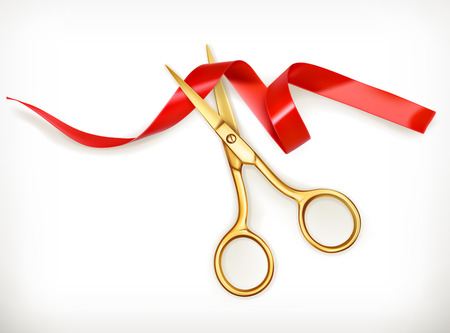 Golden scissors cut the red ribbon, vector object