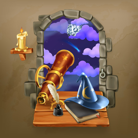 prediction: Window in the castle, magic and astrology vector illustration Illustration