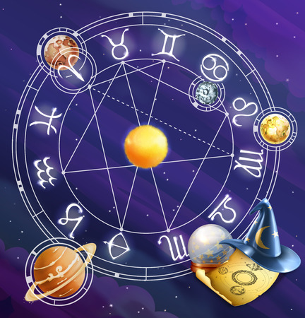 Signes du zodiaque, vecteur de fond Banque d'images - 43359158