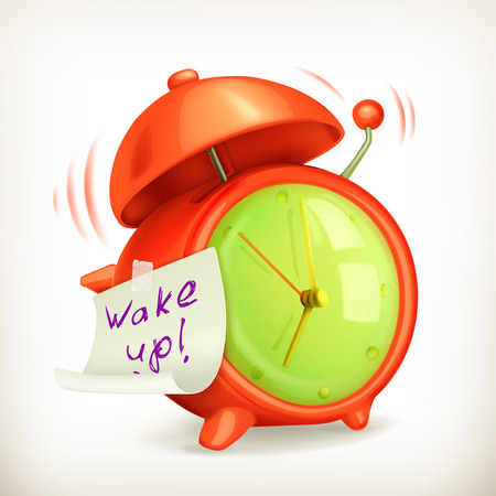 wake: Wake up, alarm clock vector icon Illustration