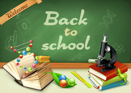 teachings: Welcome back to school. Studying and teaching, research and knowledge, vector illustrations on the chalkboard Illustration