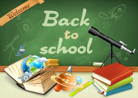 戻る学校へようこそ。勉強や教育、研究と知識、ベクトル イラスト スケッチと緑の黒板に