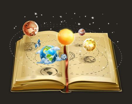 sol caricatura: Libro sobre astronom�a, icono del vector