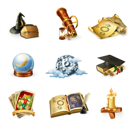 graduacion caricatura: Astrología, conjunto de iconos vectoriales