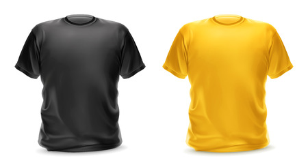 male fashion model: Black and yellow t-shirt, vector isolated object Illustration