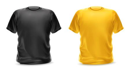 modelos hombres: Negro y amarillo de la camiseta, objeto aislado del vector Vectores
